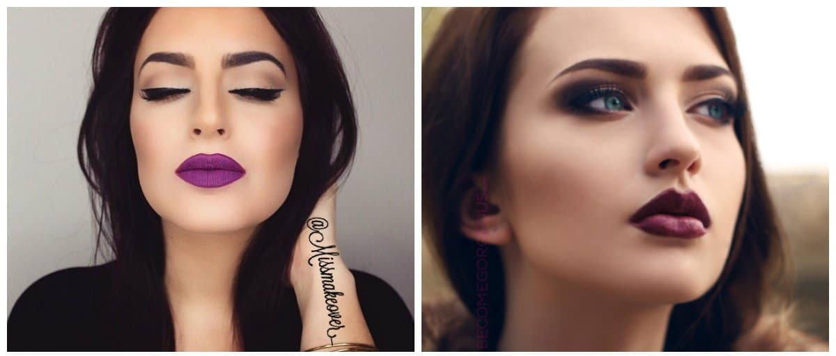 good-makeup-best-face-makeup-eye-makeup-ideas-burgundy-and-purple-lipstick-best face makeup