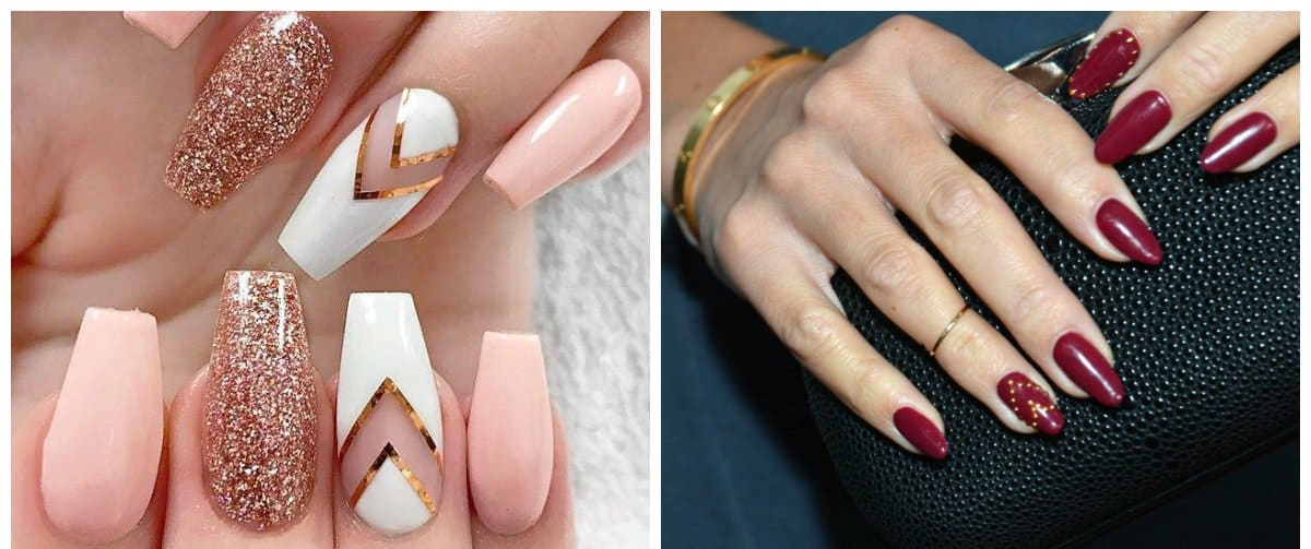 nail-art-2018-nail-art-design-2018-easy-nail-art-wine-pink-gold-Nail art 2018