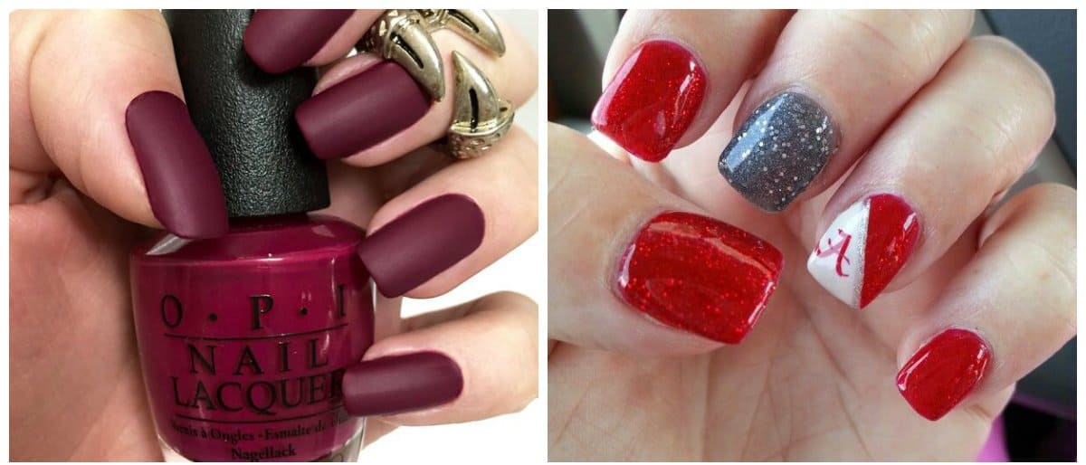 nail-designs-2018-nail-design-ideas-nail-polish-trends-2018-crimson-and-wine-red-nail polish trends 2018