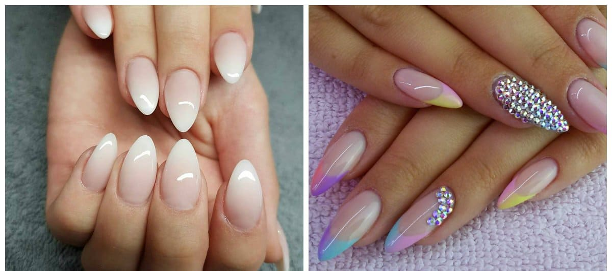 almond nail designs, ombre fashionable nail design
