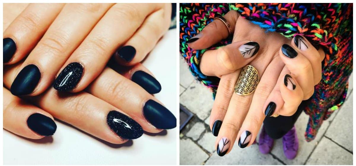 black nail designs 2021, trends and ideas of black nail art