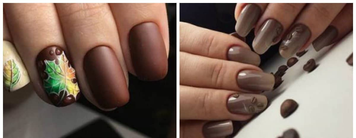 dark nail colors, stylish dark brown tones