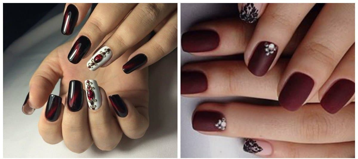 dark nail colors, trendy dark wine tones