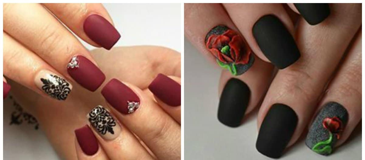 dark nails 2018,stylish matte dark nails 2018