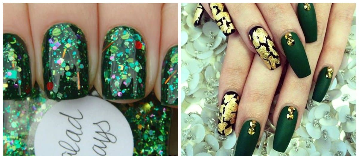 Green nails 2018: trends and ideas with green nail polish designs