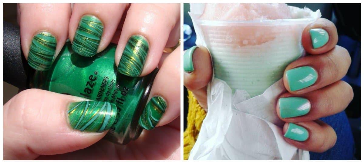 green nail polish designs, trendy shades of green nail polish