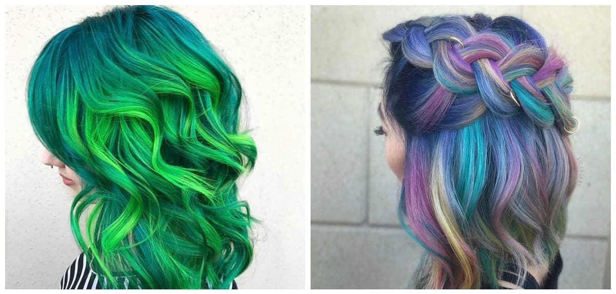 hairstyles for long hair 2018, neon shades for long hair