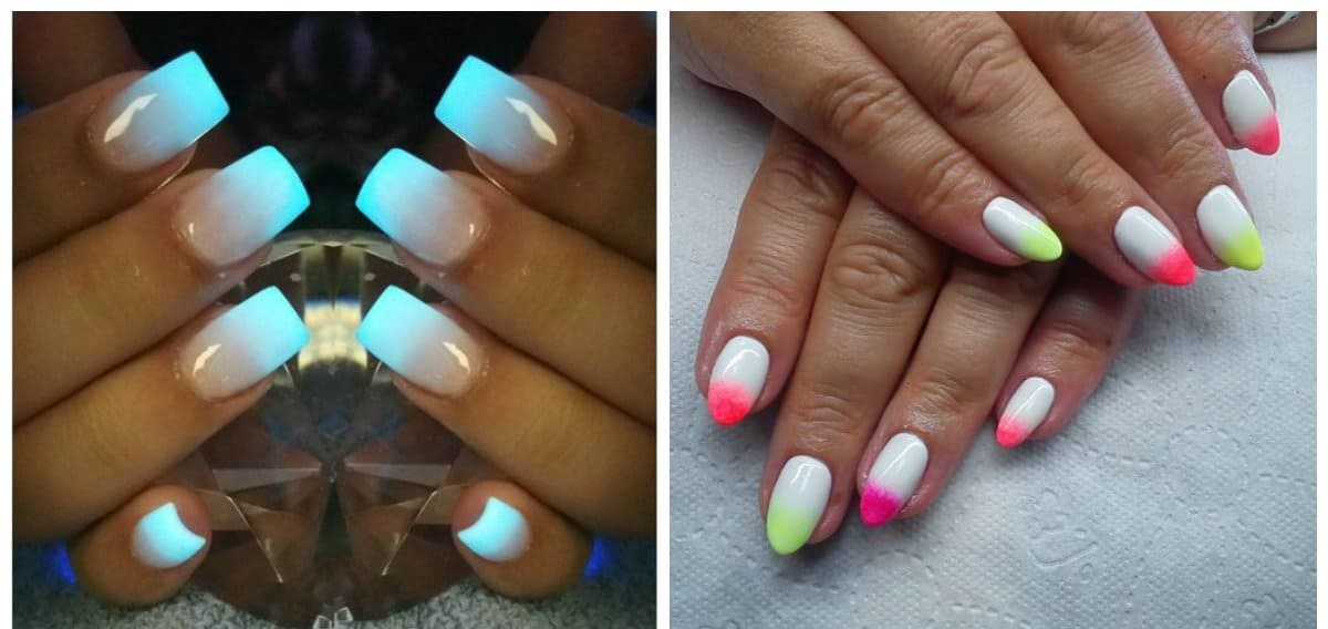 ombre nail designs, luminous ombre nails 2018