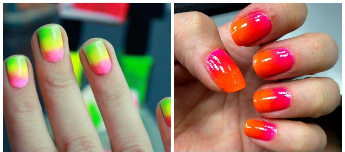 ombre nail designs, neon ombre nail designs