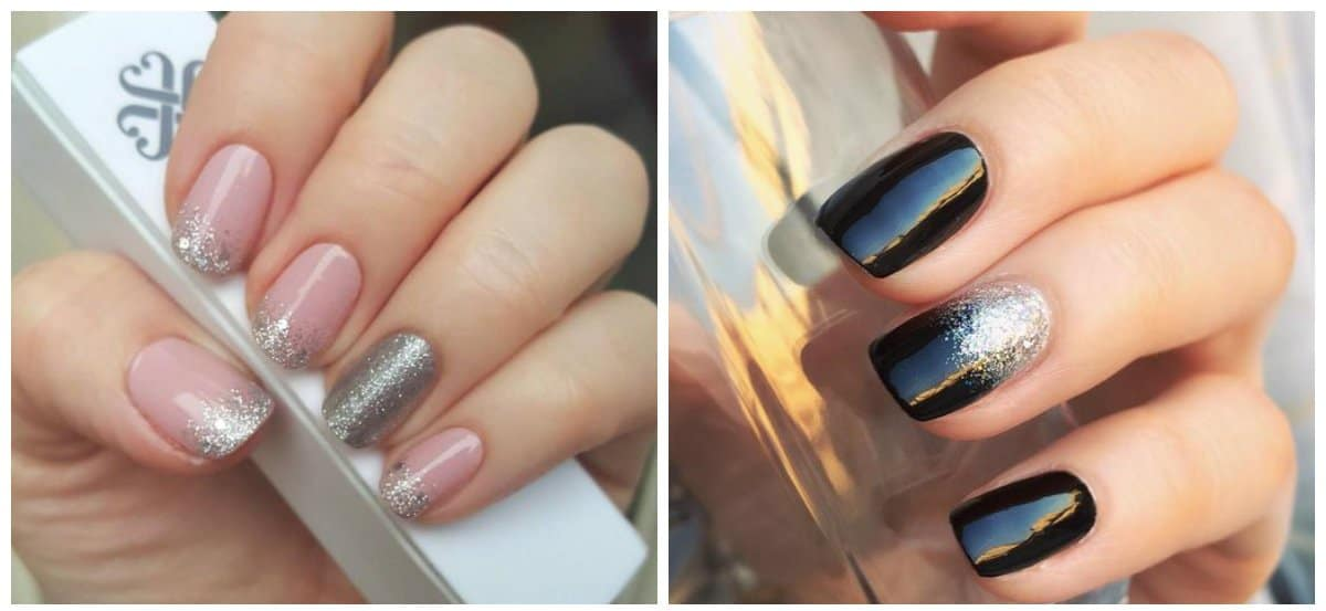 ombre nails 2018, fashionable ombre glitter nails