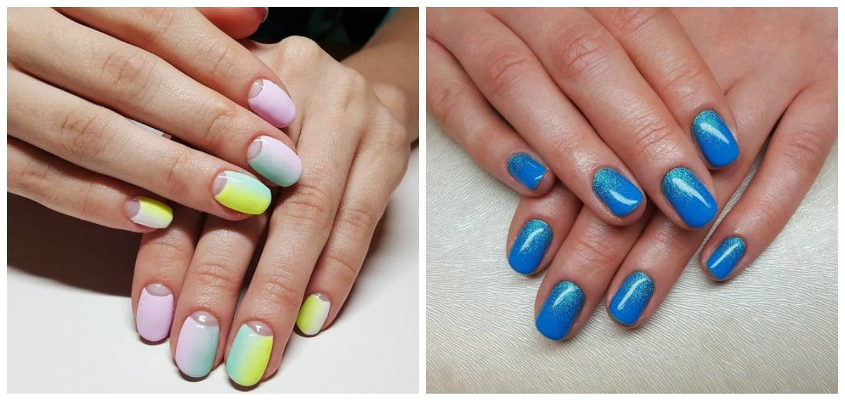 ombre nail art, ombre nails with cold colors
