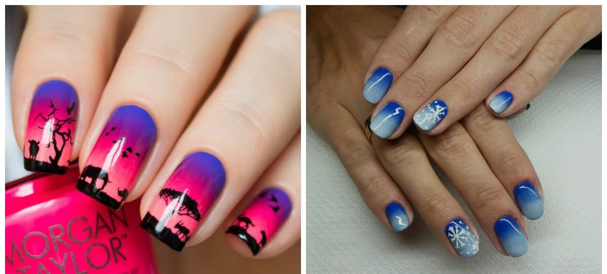 ombre nail designs, stylish ombre nails with drawings