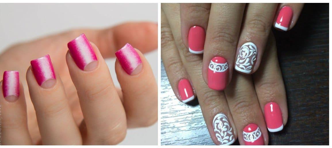 pink nail polish colors, french and moon nail designs