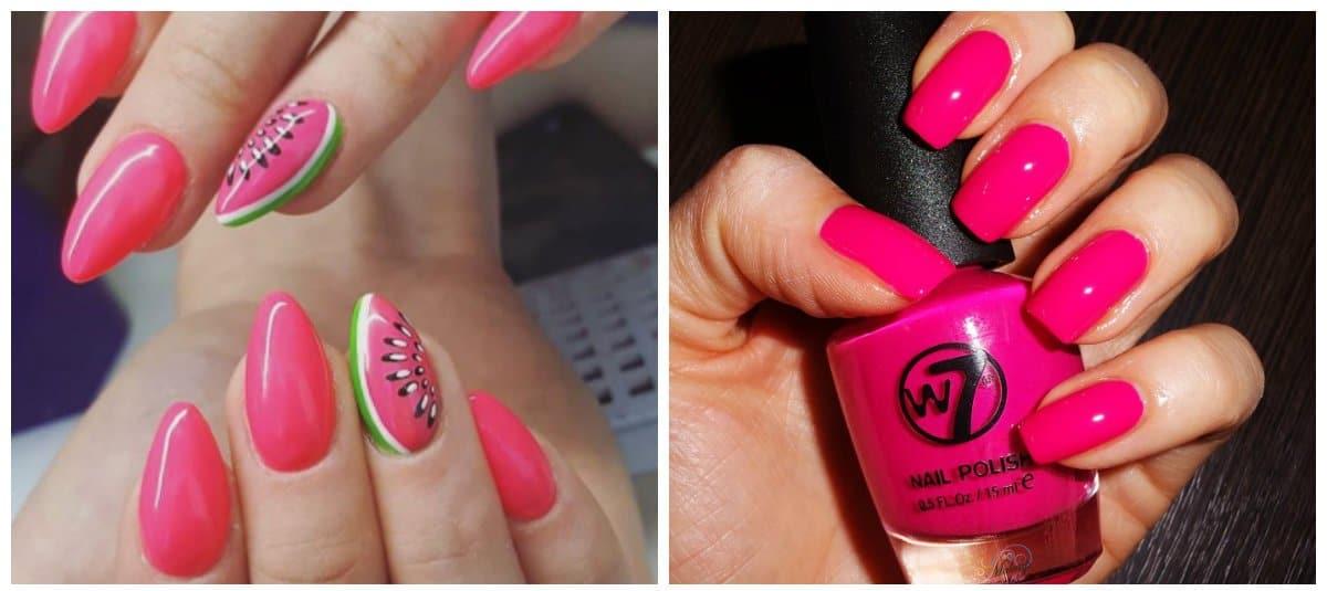 pink nail polish colors, fuchsia, berry pink shades