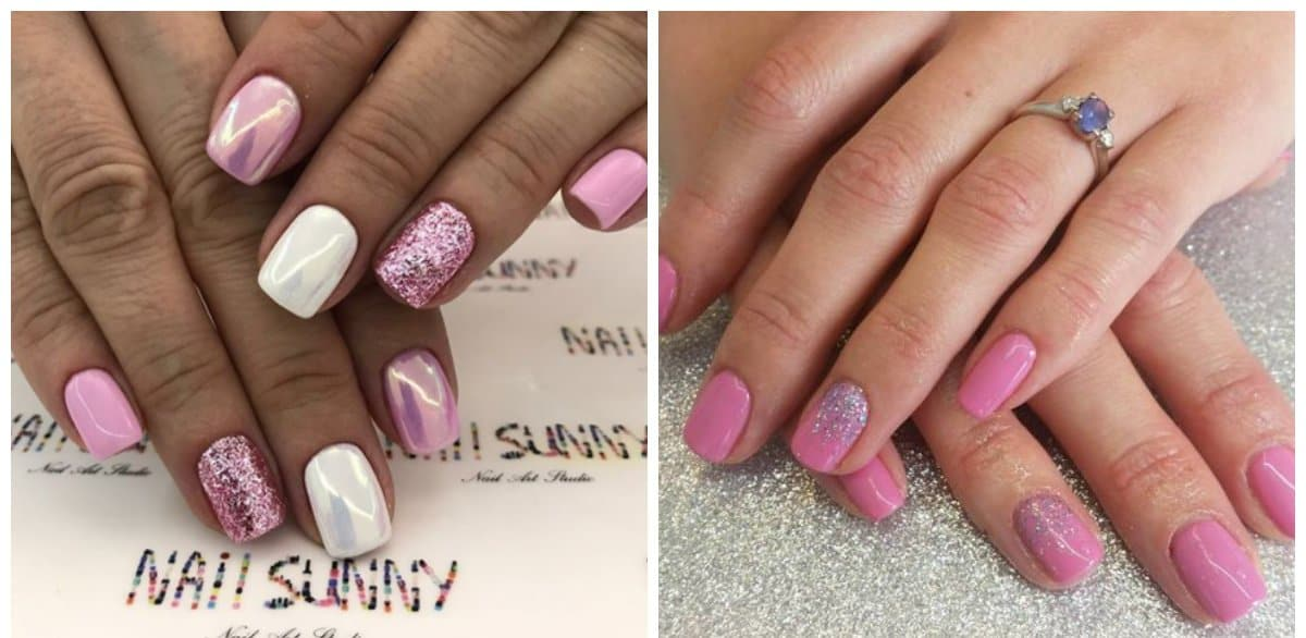 pink nail art, pink ombre nails with sparkles
