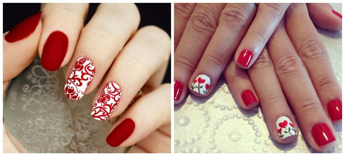 red nail designs, drawings on red nails