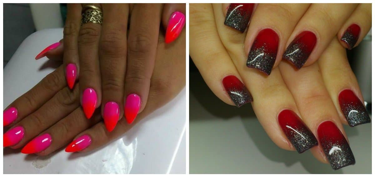 red nail designs, res and pink ombre, red and silver ombre