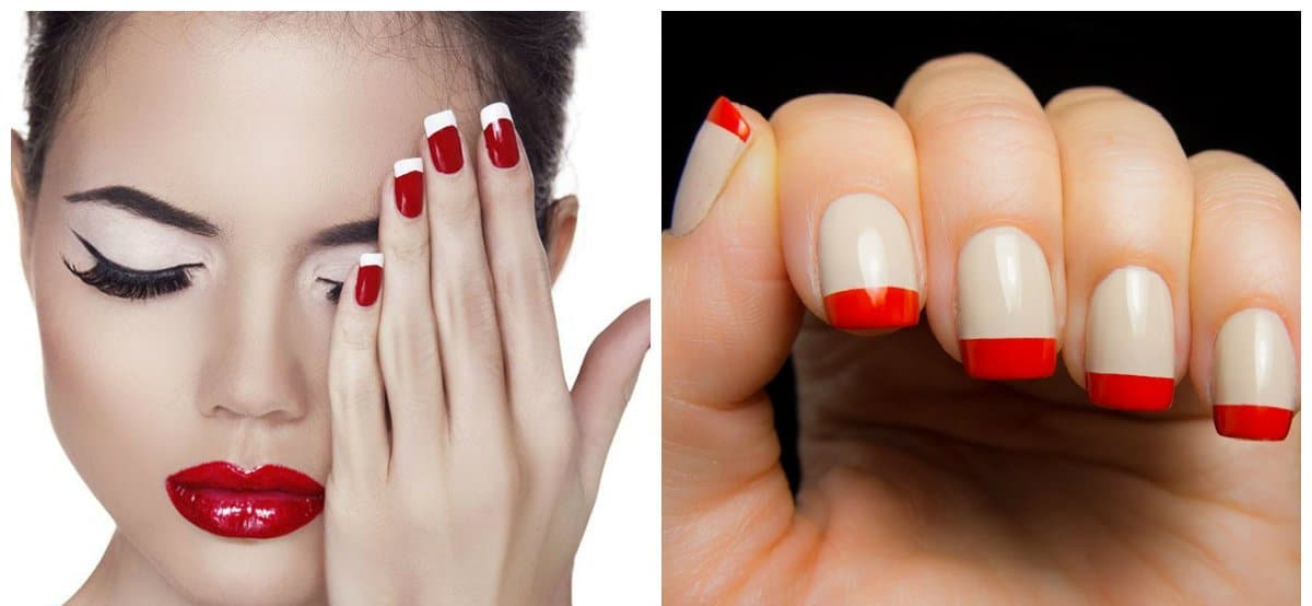 red nail art, fashionable red french nails