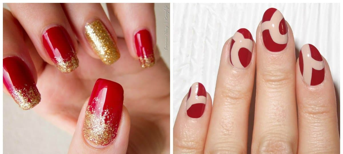 red nails 2018, red in combination with other colors