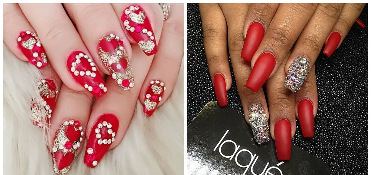 red nail art, red nails with fashionable rhinestones