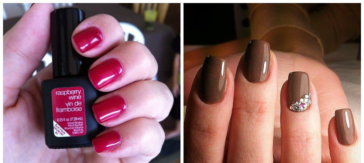 shellac nail art, coffee and raspberry fashionable shellac nails