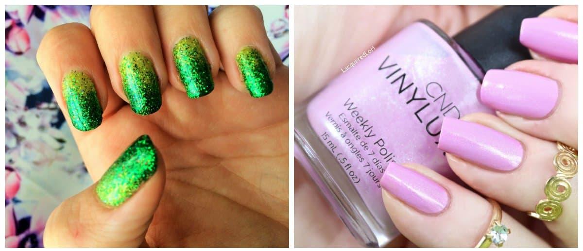 shellac nail designs, trendy lavender and green shellac nails