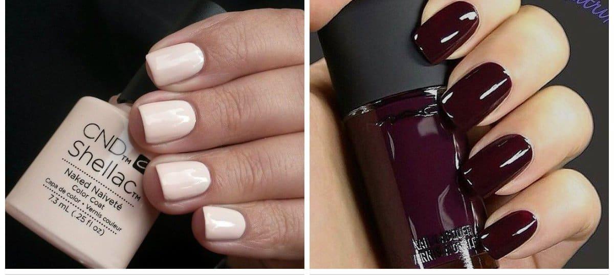 shellac nails 2018, marsala and creamy pink shades