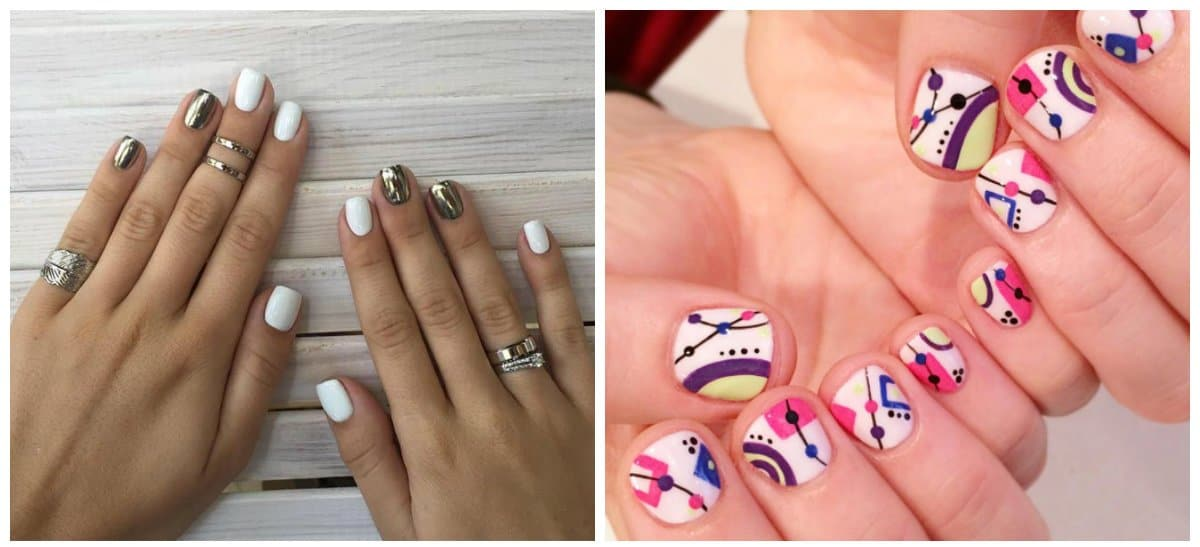 nail art for short nails, metallic short nails, short nails with geometric patterns