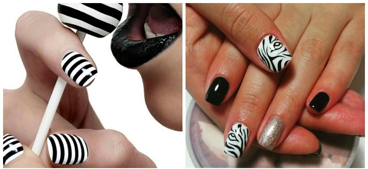 white nail designs, black and white nails, zebra nails