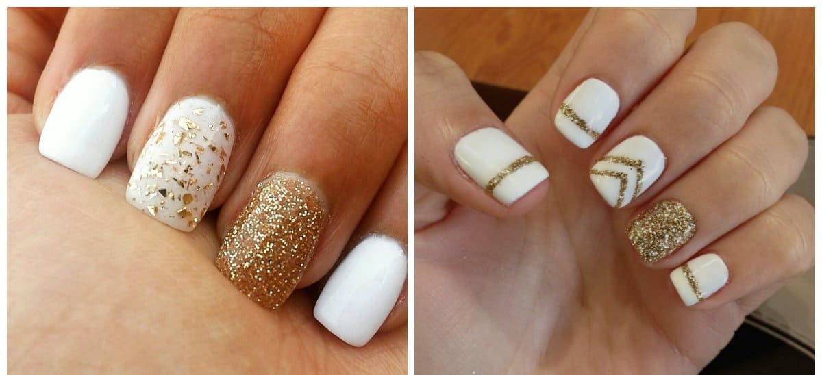 white nail designs, white and gold nail designs 2018