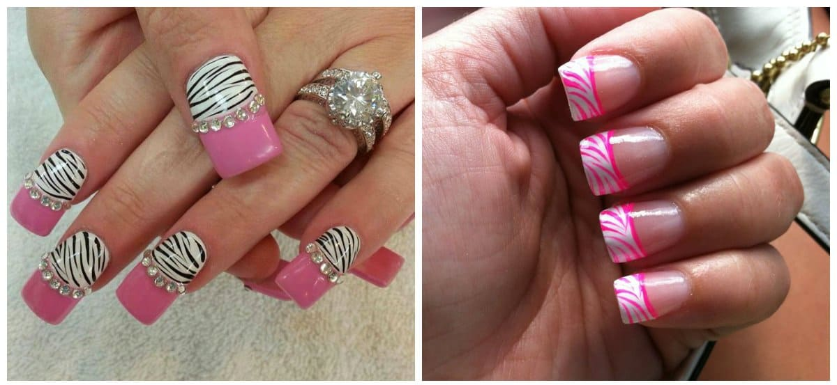 white nail art, white and pink zebra nails 2018