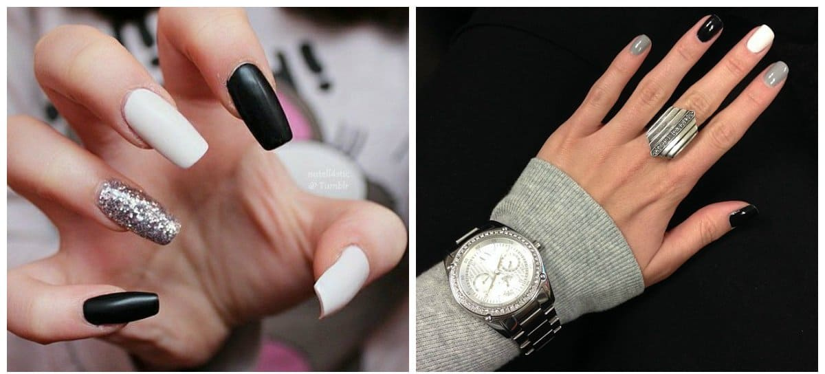 white nail art, white, black and grey nail design