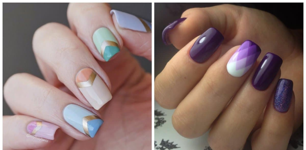 white nail designs, white geometric gradient nails