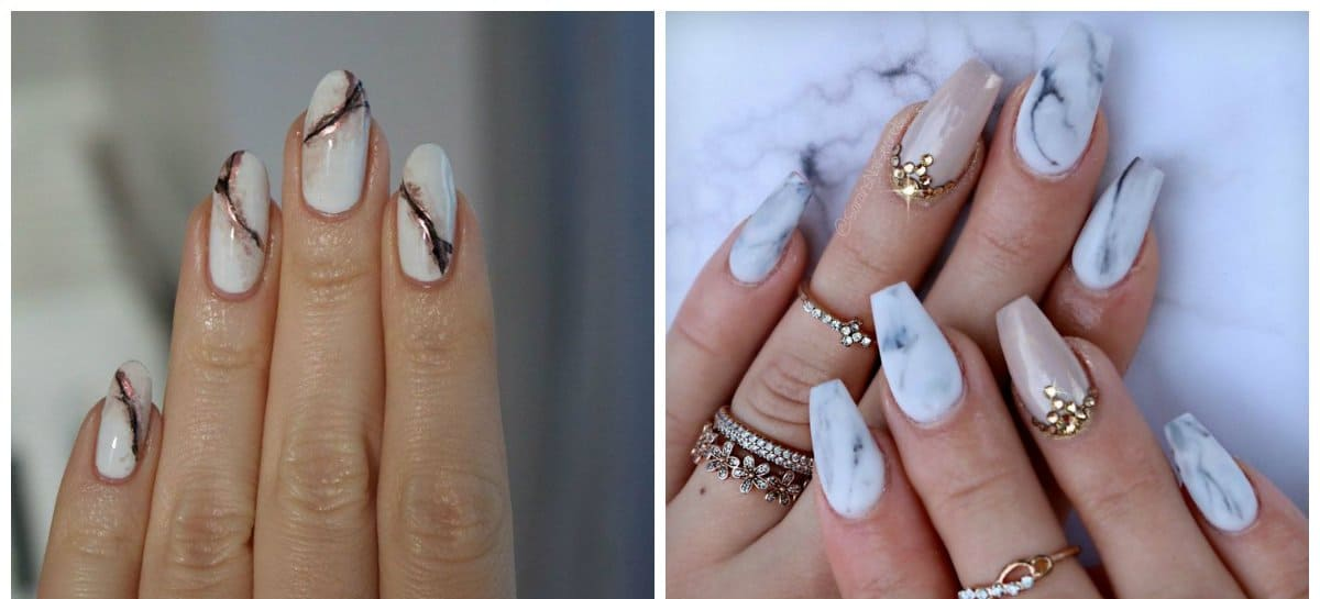 white nails 2018, fashionable white marble nails