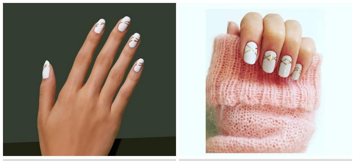 white nail art, white nails with stripes
