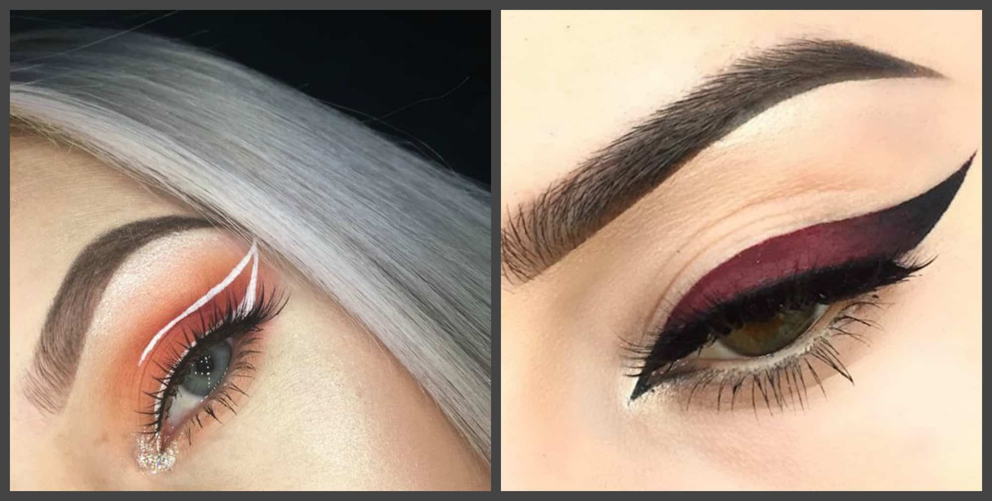 eye makeup 2018, fashionable geometric eyelines