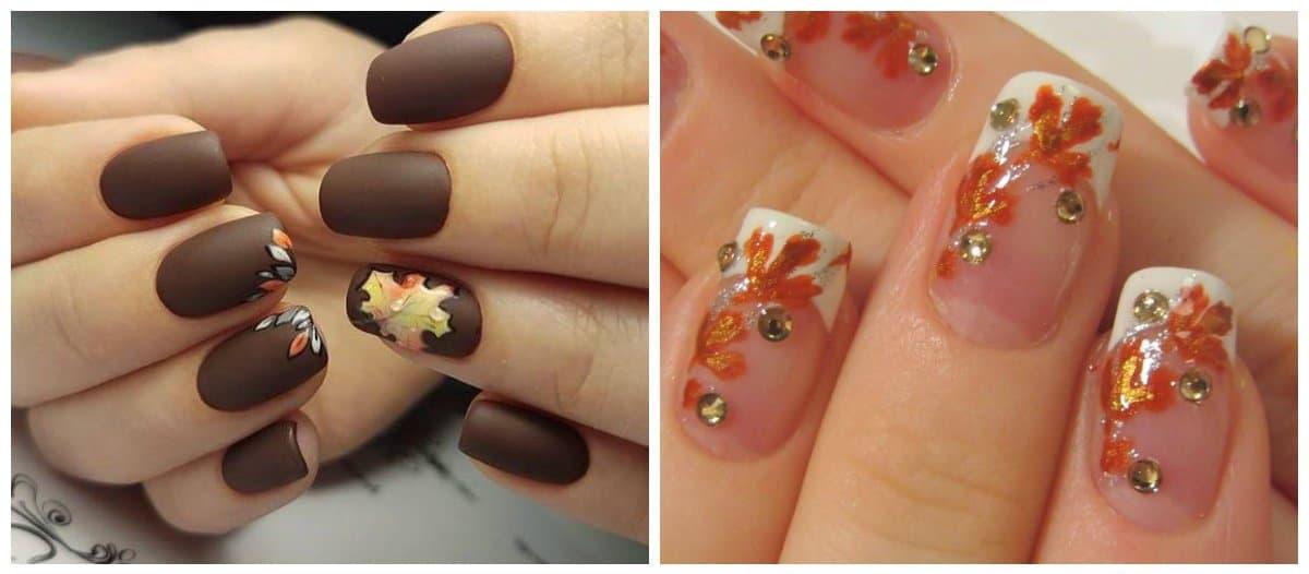 fall nail art, fall nails 2018 with leaves
