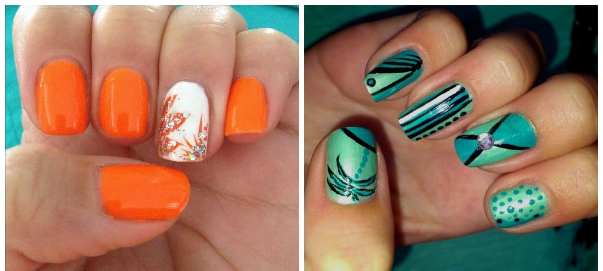 fall nail art, orange nails, aquamarine nails