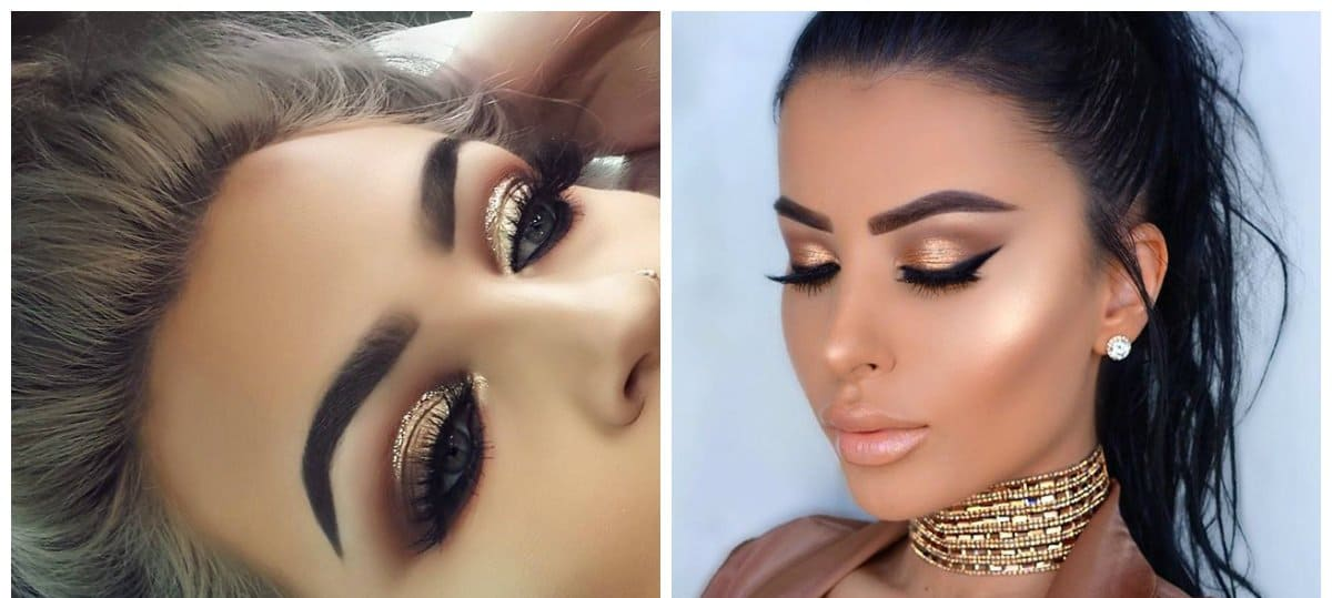 fashion makeup 2018, bronze makeup, gold makeup
