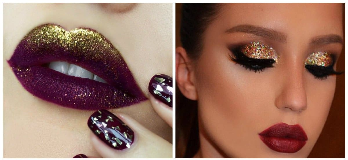fashion makeup 2018, trendy glitter makeup