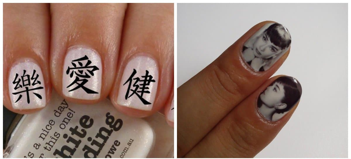 japanese nails, japanese style with hieroglyphs