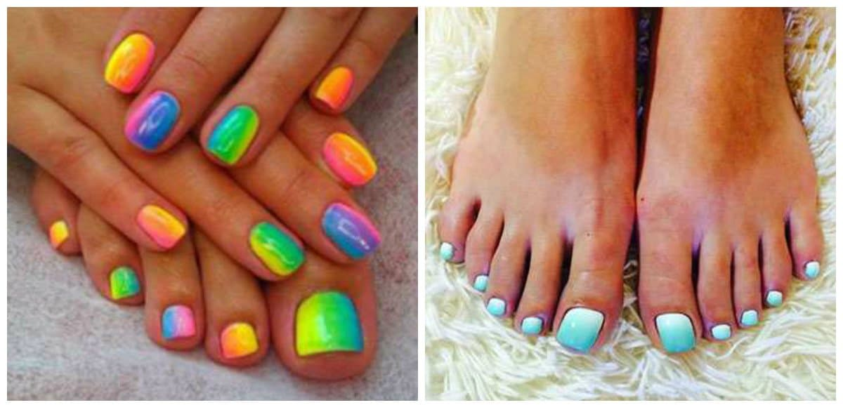 pedicure designs 2018, fashionable ombre pedicure 2018