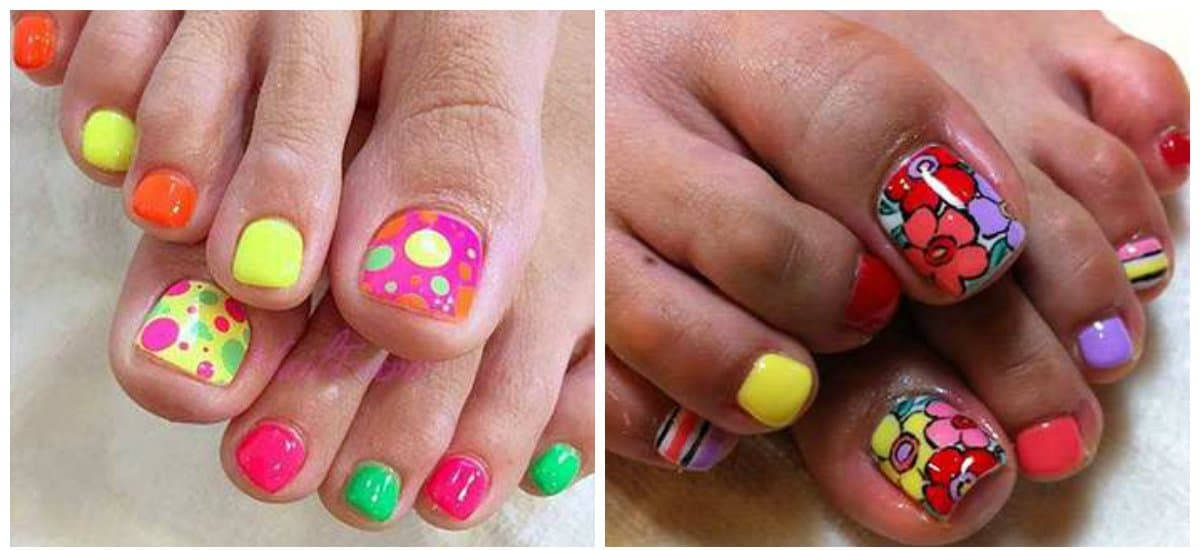pedicure nail art, multicolored pedicure 2018