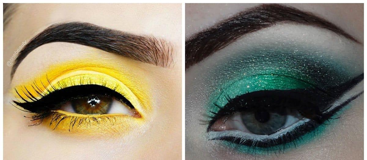 popular makeup palettes 2018, yellow eye makeup, green eye makeup