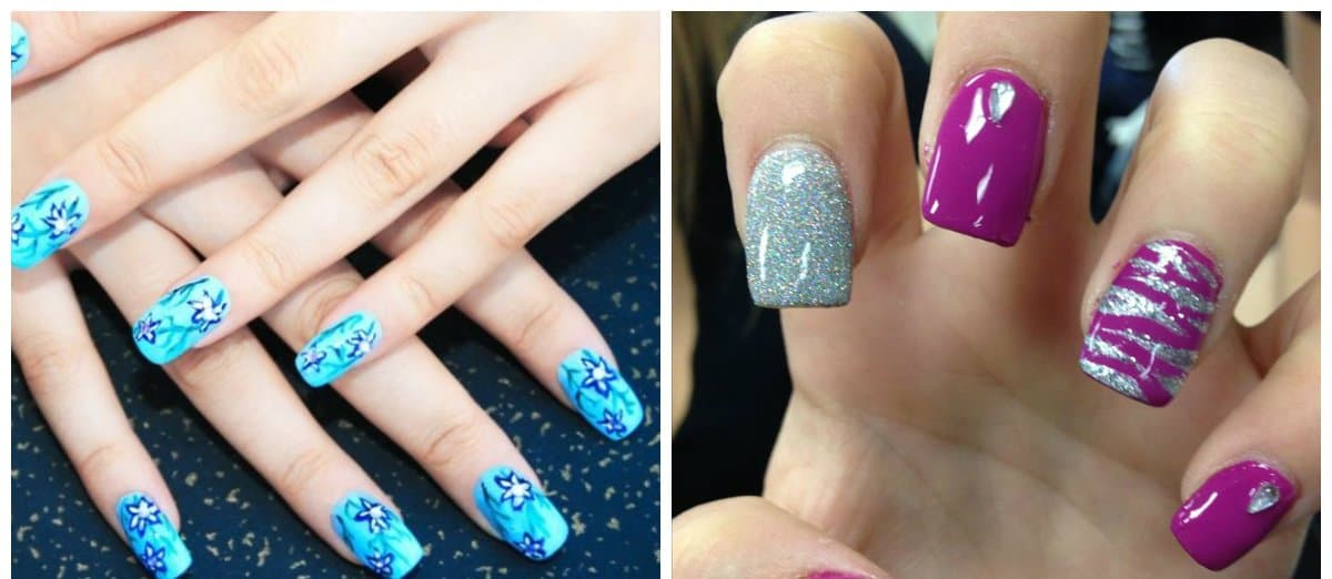 trending nail colors, blue and violet colors