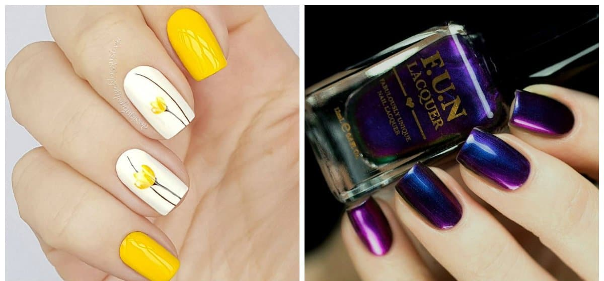 trending nail designs, yellow nails 2018, chameleon nails 2018