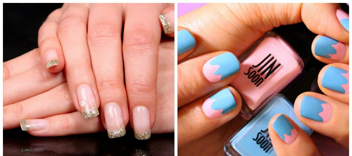 trending nail colors, trendy french nails, color block nails