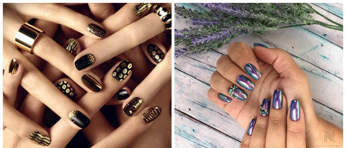 popular nails 2018, metallic glossy nails 2018