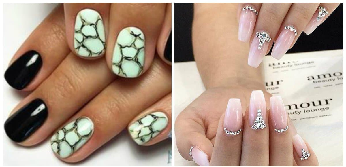 trending nail designs, designs with diamonds, stone nail design