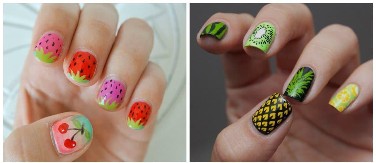 summer nail art, fashionable fruit color nails